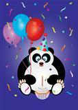 Happy Birthday Panda Bear Illustration