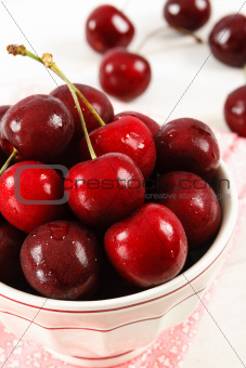 Close Up Of Red Cherries In A Bowl