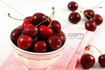 Fresh Red Cherries In A Bowl