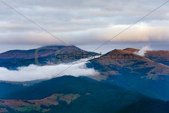 Autumn evening mountain landscape