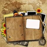 antique background with the old map, open book and a clock