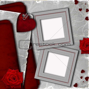 Card for invitation with hearts and roses