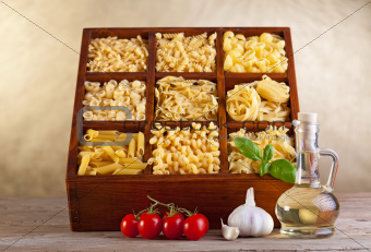 Assorted pasta mix in wooden box