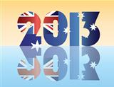 New Year 2013 Australia Flag Illustration