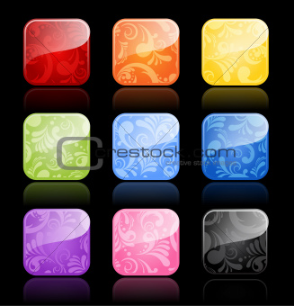 Floral glossy blank buttons in color variations