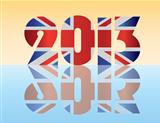 New Year 2013 London England Flag Illustration