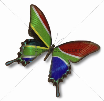Republic of South Africa flag on butterfly