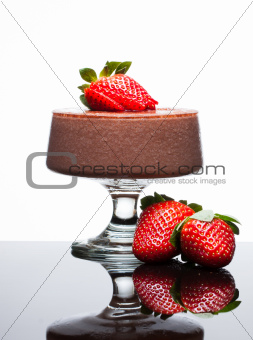 Chocolate mousee dessert with strawberries