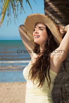 Beautiful young woman on the beacg