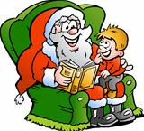 Hand-drawn Vector illustration of an Santa Claus tells a story to an little boy
