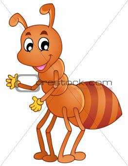 Cartoon smiling ant