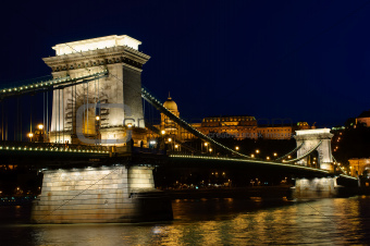 Night view of Budapest chain bridge
