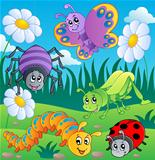 Meadow with various bugs theme 1