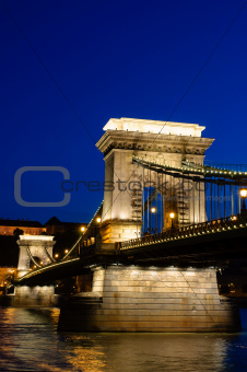 Night view of chain bridge in Budapest, Hungary