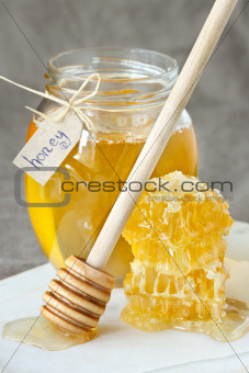 Honey and honeycombs.