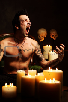 Male vampire showing teeth