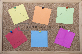 Cork board with post its