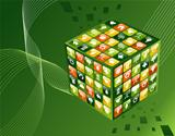 Green environment apps cube background