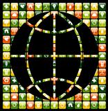 Global mobile phone green apps icons world