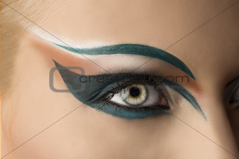 open eye closeup with makeup