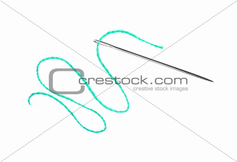Blue thread and needle isolated on white