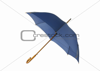 Opened blue umbrella isolated on white