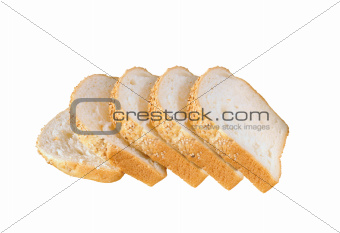 tasty sliced bread with sesame seeds isolated on white