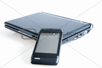 modern mobile gadgets on white background