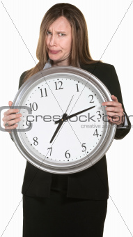 Annoyed Businesswoman with Clock