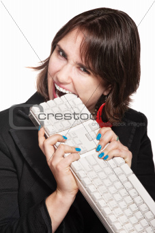 Frustrated Woman Eats Keyboard