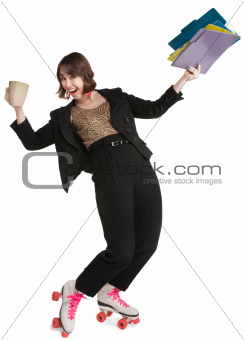 Office Worker in Skates