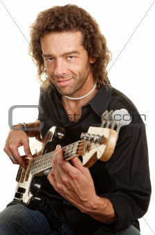 Guitar Player Over White