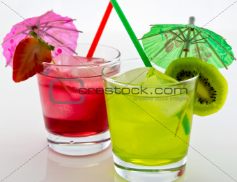 refreshing kiwi and strawberry drink with a straw