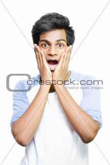 Surprised and excited young Asian man
