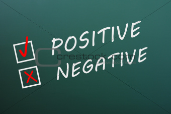 Chalk drawing of Positive and Negative with check boxes