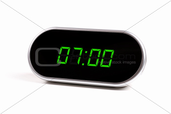 digital alarm clock with green digits