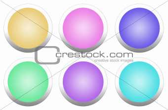 Beautiful multi-colored round buttons isolated on white background.