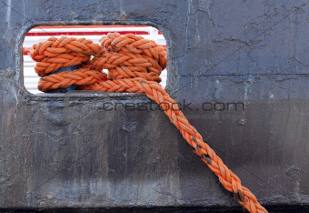 Closeup on the ship's rope