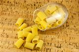 Ditaloni pasta inside transparent glass