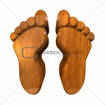 3d foot prints in wood