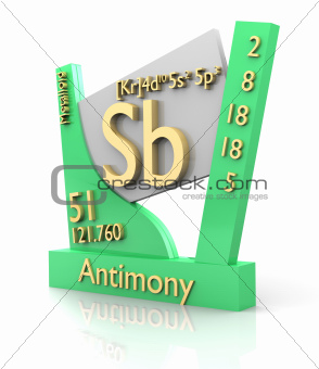 Antimony form Periodic Table of Elements - V2