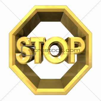 3d STOP symbol in gold