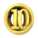 3d number 10 in gold 