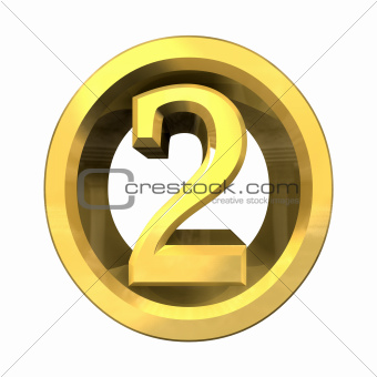 3d number 2 in gold