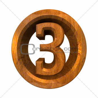 3d number 3 in wood