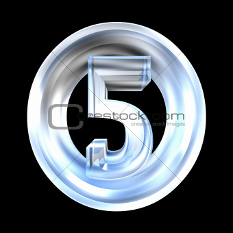 3d number 5 in glass