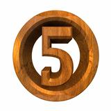 3d number 5 in wood