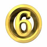 3d number 6 in gold