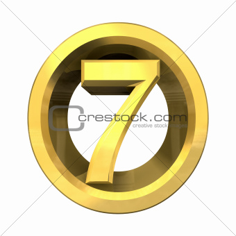3d number 7 in gold