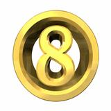 3d number 8 in gold 